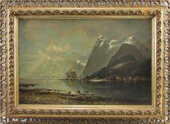 """Rudolf Becker (1856 - ?) - Öl auf Leinwand, """"Norwegische Fjordlandschaft mit Fischerhäusern,"""