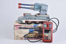 ROSKO TOYS Pom Pom Tank, 60er Jahre, Made in Japan, Blech, grau, lithographiert, L 32 cm, BA,