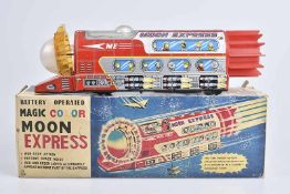 TOKYO PLAYTHING SUMIDA (TPS) Moon Express, 60er Jahre, Made in Japan, lithographiert, L 37 cm, BA,