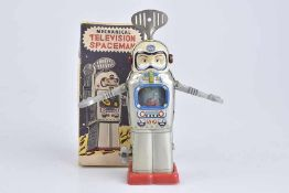 ALPS Television Spaceman, Made in Japan, 60er Jahre, Blech/ Kunststoff, lithographiert, H 16 cm,
