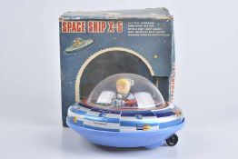 TM Space Ship X-5, 70er Jahre, Made in Japan, Blech/ Kunststoff, lithographiert, D 20 cm, BA, Z 1-2,