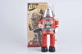 OSAKA TIN TOY Astronaut, Replik, 80er Jahre, Made in Japan, Blech, rot und lithographiert, L 34
