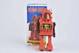 K.O Jupiter Robot, 70er Jahre, Made in Japan, Kunststoff/ Blech, rot, H 18 cm, Uhrwerk, leichte
