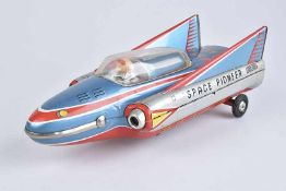 TM MODERN TOYS Space Pioneer, Made in Japan, 60er Jahre, Blech/ Kunststoff, lithographiert, L 31 cm,