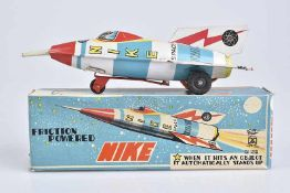 MASUYA TOY Nike Space Rocket SR-7, Made in Japan, 60er Jahre, Blech, lithographiert, L 19 cm,