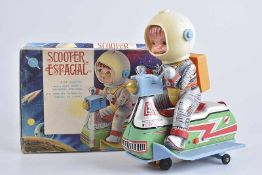 JUGUETES EGE Scooter Espacial, 60er Jahre, Made in Spain, Blech/ Kunststoff, lithographiert, L 21