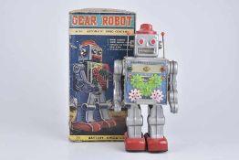 S. HORIKAWA Gear Robot, 60er Jahre, Made in Japan, Blech/ Kunststoff, grau, H 29 cm, BA, leichte