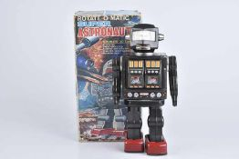 SH-HORIKAWA Rotate-O-Matic Super Astronaut, 60er Jahre, Made in Japan, Blech, lithographiert, H 29
