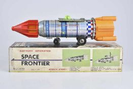 YOSHINO TOY CO. Space Frontier, 60er Jahre, Made in Japan, Blech/ Kunststoff, lithographiert, L 45