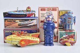 Konv. 5 Teile, versch. Hersteller, 60er Jahre, Rocket Fighter, Rocket Racer, Mars Explorer, L 17 cm,