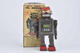 S. HORIKAWA Mr. Zerox, 60er Jahre, Made in Japan, Blech, schwarz, H 22 cm, BA, untere Kappe am