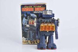 S.H HORIKAWA Enigne Robot, 70er Jahre, Made in Japan, Kunststoff/ Blech, blau, H 22 cm, BA, Z 1,
