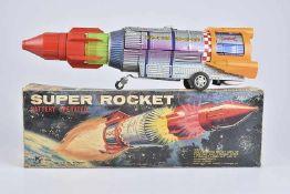 KY Super Rocket, 60er Jahre, Made in Japan, Blech/ Kunststoff, lithographiert, L 44 cm, BA, mit