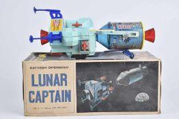 T.N Lunar Captain, 60er Jahre, Made in Japan, Blech/ Kunststoff, lithographiert, H 28 cm, BA, Z 2,