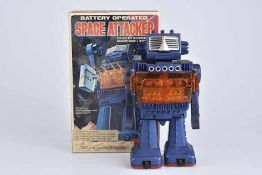 S.HORIKAWA Space Attacker, Made in Japan, Bech/ Kunststoff, blau/ orange, H 22 cm, BA, leichte