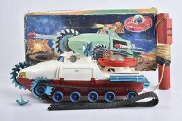 PAYA Luna 70 Tanque espacial, 70er Jahre, Made in Spain, Kunststoff, weiß/ blau/ rot, L 43 cm, BA,
