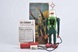 DUX-ASTROMAN Electric Robot, um 1960, Kunststoff, grün, H 30 cm, BA mit Fernsteuerung, Scheiben an