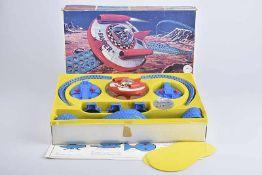 ALPS Spacecraft Ranger, 60er Jahre, Made in Japan, Blech/ Kunststoff, rot und blau, D 13 cm, BA,