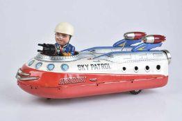T.N NOMURA Sky Patrol, Made in Japan, 60er Jahre, Blech/ Kunststoff, lithographiert, L 33 cm, BA,