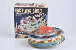 KO TOYS King Flying Saucer, 60er Jahre, Made in Japan, Blech/ Kunststoff, lithographiert, D 18 cm,