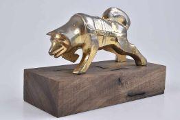 Emblem/ Kühlerfigur/ Car Mascot Brockway, Sibirischer Husky, Metall, verchromt, seitig bezeichnet '