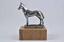 Emblem/ Kühlerfigur/ Car Mascot, Pferd, Metall, verchromt, 10 cm, teilweise mit Fehlstellen, auf
