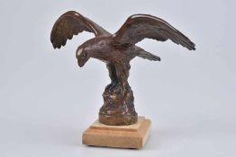 Emblem/ Kühlerfigur/ Car Mascot AEL, Adler, Metall, L 18 cm, H 11 cm, signiert ''Copyright AEL'',