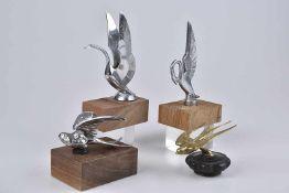 Emblem/ Kühlerfigur/ Car Mascot 4 Vögel, Metall, verchromt, H 6-16 cm, Verchromung mit