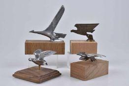 Emblem/ Kühlerfigur/ Car Mascot Vögel, 4 abstrakte Modelle, Metall, verchromt, L 10-13 cm, auf
