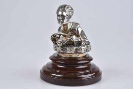 Emblem/ Kühlerfigur/ Car Mascot Der Läufer, Bronze, verchromt, H 9 cm, Altersspuren, auf