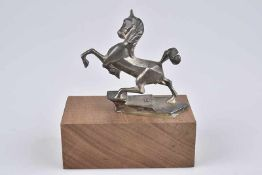 Emblem/ Kühlerfigur/ Car Mascot Humber Pferd 1930, Bronze, vernickelt, Fehlstellen am Nickel, L