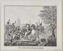 Regensburg, Schlacht vonLithographie, 13 x 16,5 cm, von Weydner, 19. Jh.