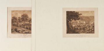 Freiburg - Umgebung, 3 Ansichten3 Aquatintaradierungen, je 17,5 x 22 cm, von Nilson, 19. Jh., P
