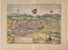Kempten, GesamtansichtKupferstich, handcolor., 34 x 45 cm, von Braun & Hogenberg, 16. Jh., gebräunt