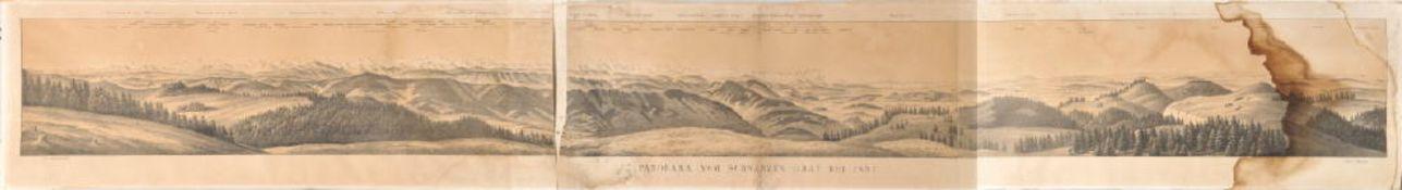 """Landkarte """"Panorama vom schwarzen Grat bei Isny""""Lithographie, 18,5 x 184 cm, von E. Emminger, 19."""