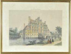Beaumesnil (Normandie), ChateauLithographie, handcolor., 22 x 32 cm, von Benoist u. Ciceri, 19. Jh.,