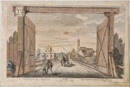 Lechhausen bei AugsburgKupferstich, handcolor., 18 x 29 cm, von Johann Gottfried Böck, 18. Jh.,