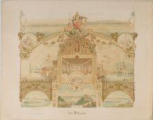 Bodensee, SouvenirblattFarblithographie, 51 x 58 cm, 6 Ansichten, von Reiss, 19. Jh.