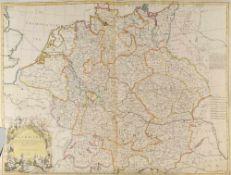 """Landkarte """"Deutschland""""Kupferstich, handcolor., 65 x 95 cm, von John Senex, London, 1710, linker"""