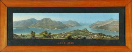 Lago di Como, GesamtansichtLithographie, handcolor., 22 x 88 cm, 19. Jh., leicht fleckig, R