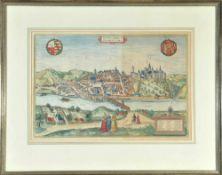 Meißen (Misena, Hermundurorum urbs), GesamtansichtKupferstich, handcolor., 33 x 49 cm, von Braun &