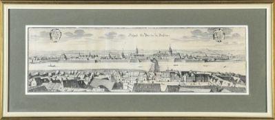 Dresden, Prospect der Brücken zuKupferstich, 15 x 50 cm, von Merian, 17. Jh., R