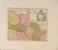 """Landkarte """"Alsatia inferior (Elsass)""""Kupferstich, handcolor., 36 x 42,5 cm, von P. Schenck u. G."""