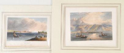 Lindau, 2 Ansichten2 Stahlstiche, handcolor., je ca. 10 x 16 cm, von Payne u. Brandard, 19. Jh., P