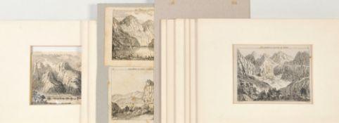 Schweiz, 12 Ansichten12 Radierungen, je ca. 9 x 12 cm, von Salomon Gessner, 18. Jh., teilw. P