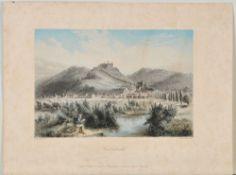 Culmbach, GesamtansichtStahlstich, handcolor., 14 x 20,5 cm, von French, nach Geissler, 19. Jh.,
