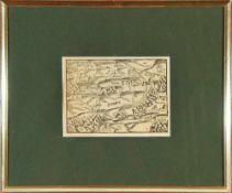 """Landkarte """"Francken""""Holzstich, 9,5 x 13,5 cm, von Seb. Münster, um 1600, R"""