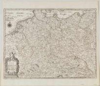 "Landkarte ""Nova totius germaniae descriptio - Teutschland""Kupferstich, 27 x 36,5 cm, von Merian, 17."