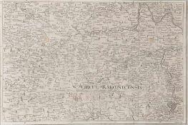 "Landkarte ""Circul Rakonicensis (Schlesien)""Kupferstich, 25 x 37 cm, 18. Jh., beschn., P"