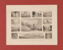 Heidelberg, SouvenirblattStahlstich, 14 x 20,5 cm, 12 Ansichten, von Foltz, 19. Jh., P
